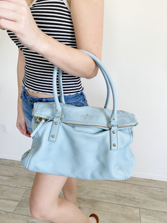 Kate Spade Baby Blue Leather Shoulder Tote