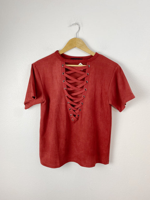 OLIVACEOUS Velvet Rust Lace-up Top NWT Small