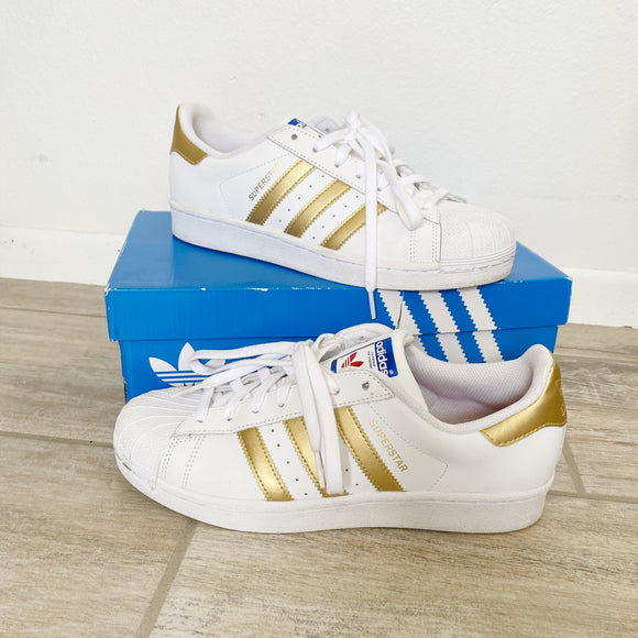 Adidas Superstar Women's Sneakers White & Gold Size 8