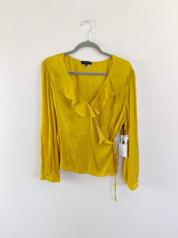 1. STATE Mustard Silk Wrap Top NWT XL