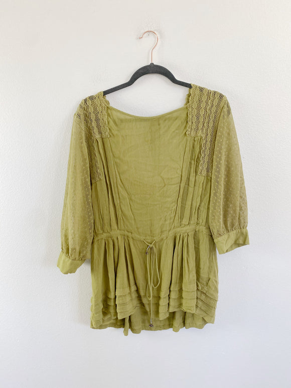 Free People Olive Lace Boho Blouse size Small