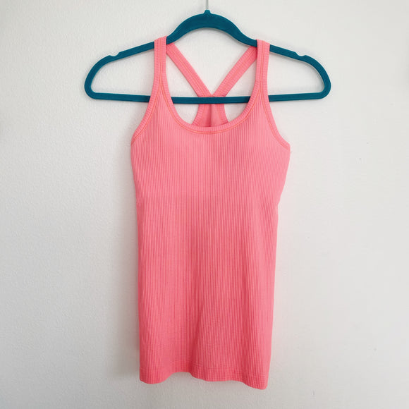 Lululemon Peach Tank Top with built in Bra Size 4
