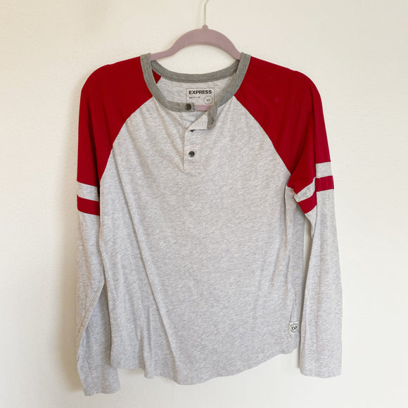 Express Boyfriend Cotton Baseball Long Sleeve Small