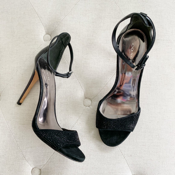 Coach 1941 Suede Black Strap Stiletto Heels 9.5