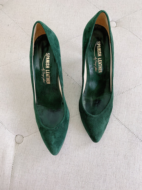 Spanish Leather by Sergio Zelcer Vintage Green Heels 7.5