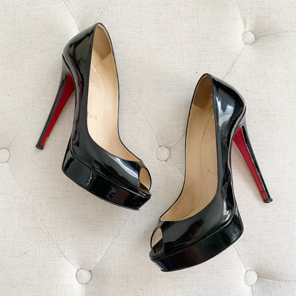 Christian Louboutin Lady Peep Toe Black Patent Leather Heels 37