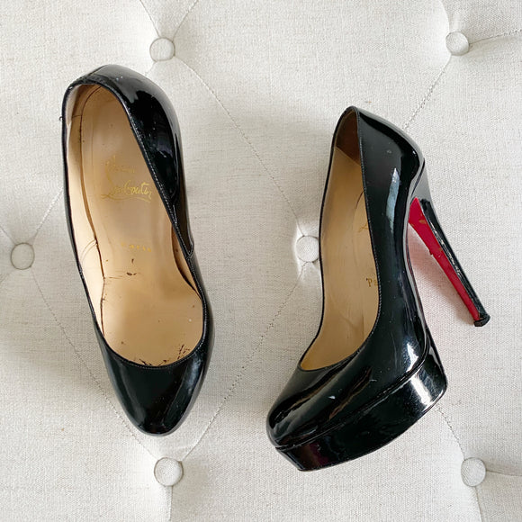 Christian Louboutin Patent Leather Black Heels 37