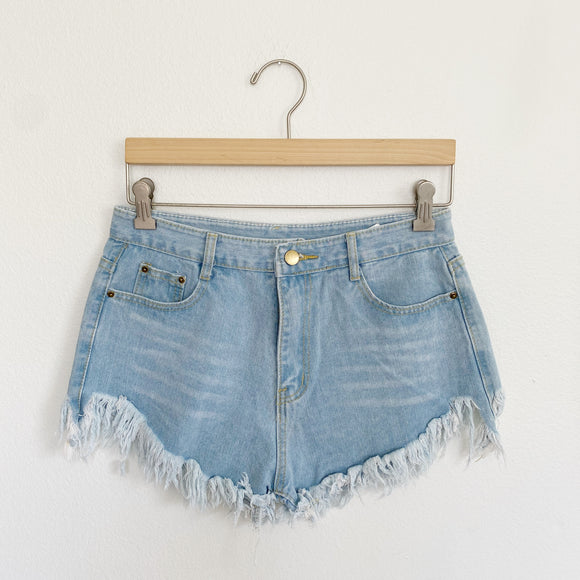 Denim Fringe Cut-out Jean Shorts Medium