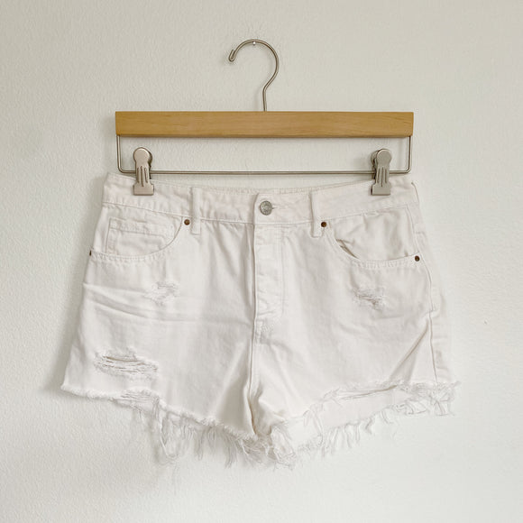 PACSUN High Rise White Denim Jean Shorts 27