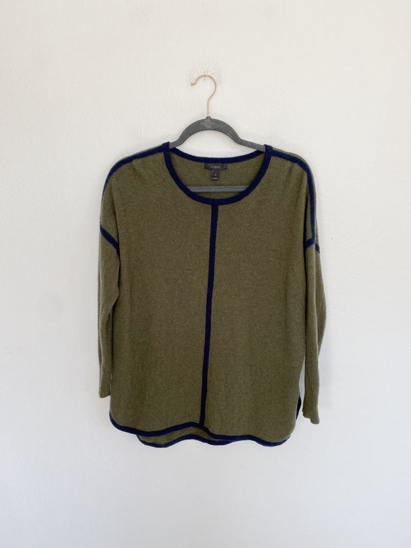 J. CREW Wool Olive Sweater Small