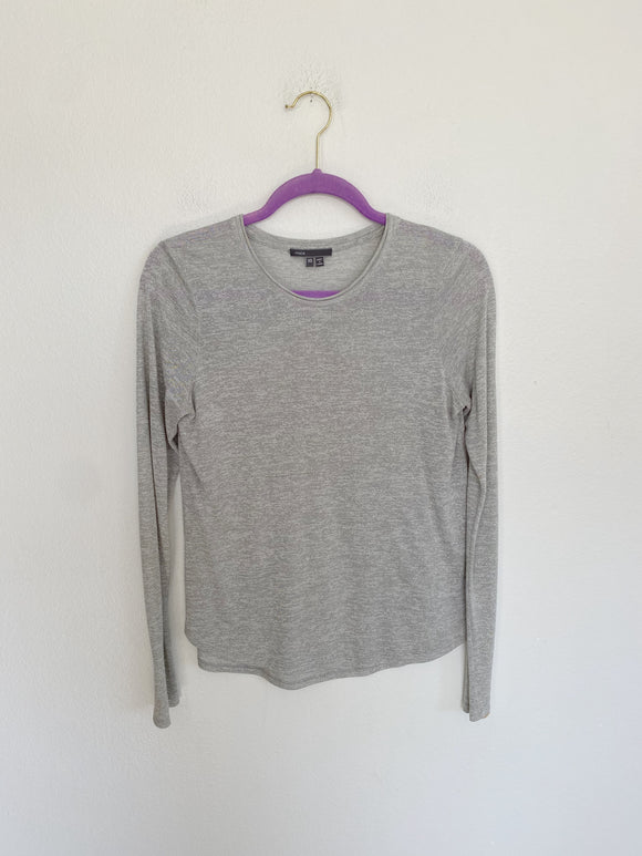 VINCE Grey Cotton Long Sleeve Tee XS