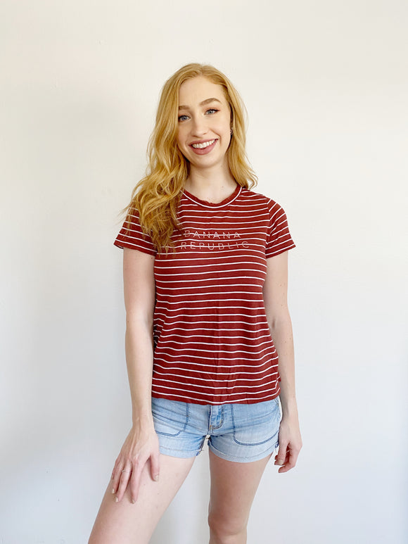 Banana Republic Striped Tee Small