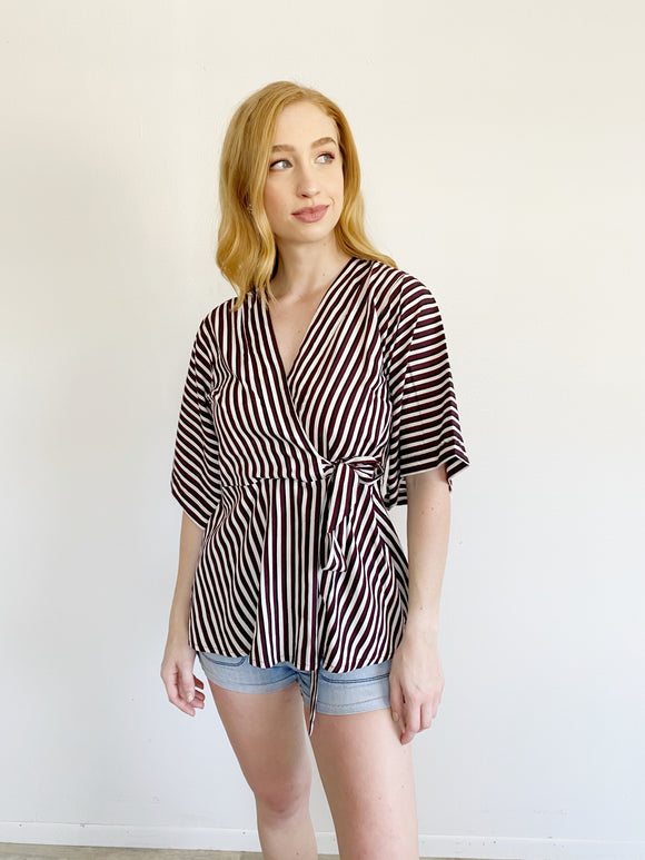 Striped Wrap Blouse Small