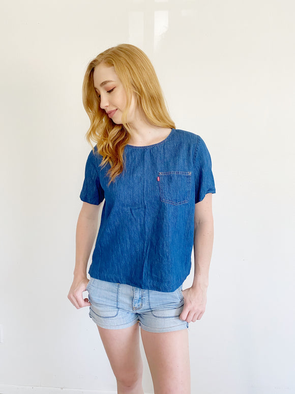 Levi's Denim Short Sleeve Top Medium