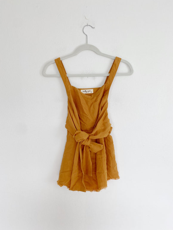 Molly Green Linen tie front Tank Top Small