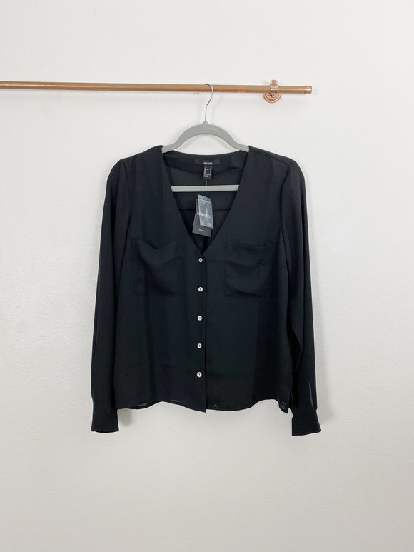 Forever 21 Black Button down Shirt NWT Small