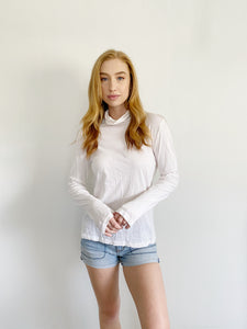 J. Crew the White Cotton Tissue Turtleneck Large