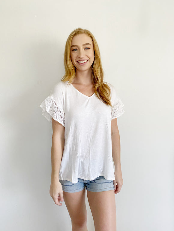 Knox Rose Lace V-neck Cotton Tee Medium