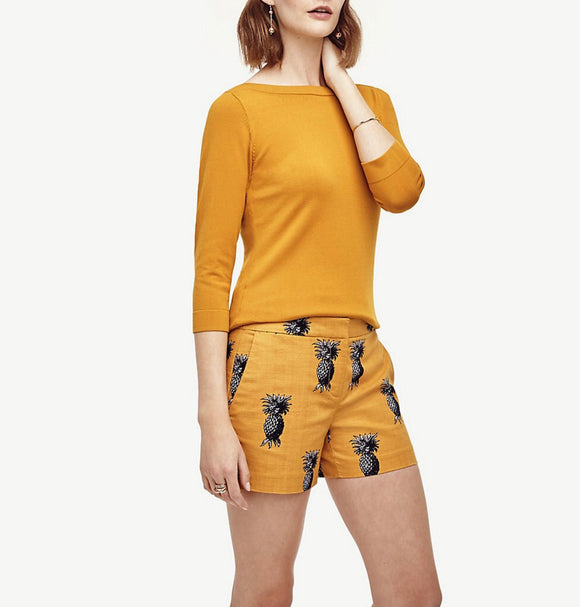 Ann Taylor Devin City Pineapple Mustard Shorts 2