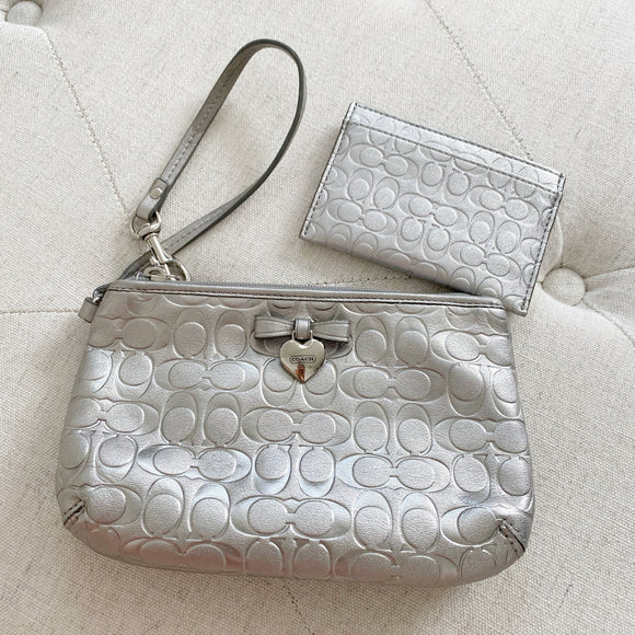 Coach Wristlet & Card Holder Metallic Set