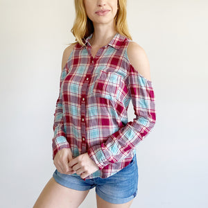 Hollister Cold Shoulder cut-out Flannel NWT Small