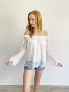 True Religion Lace off-the-shoulder Long Sleeve Top Small