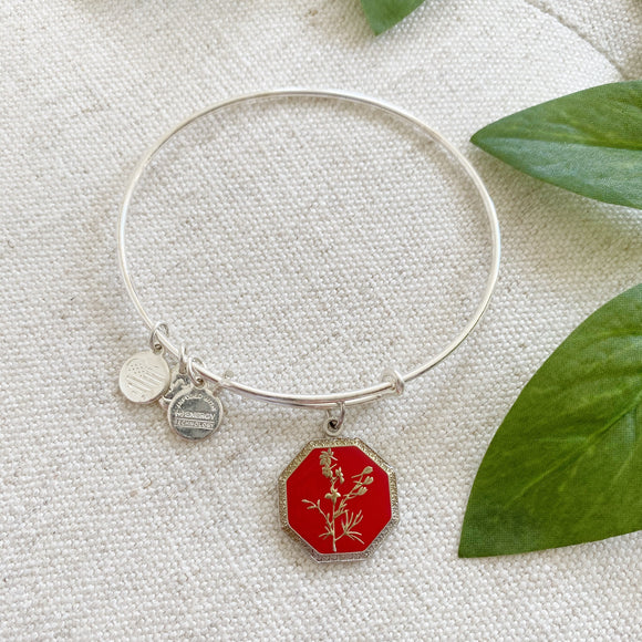 Alex & Ani Silver July Larkspur Flower Charm Bracelet
