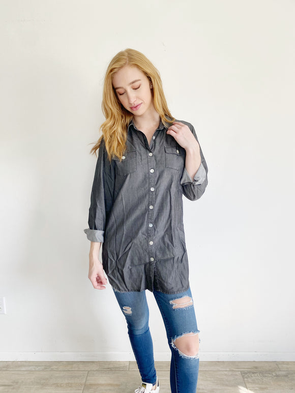 Soft Surroundings Denim Grey Button Down Small