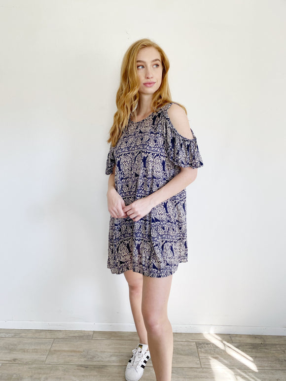 Angie Cold Shoulder Print Dress Small
