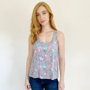 Frenchi by Nordstrom Paisley Lightweight Tank Small