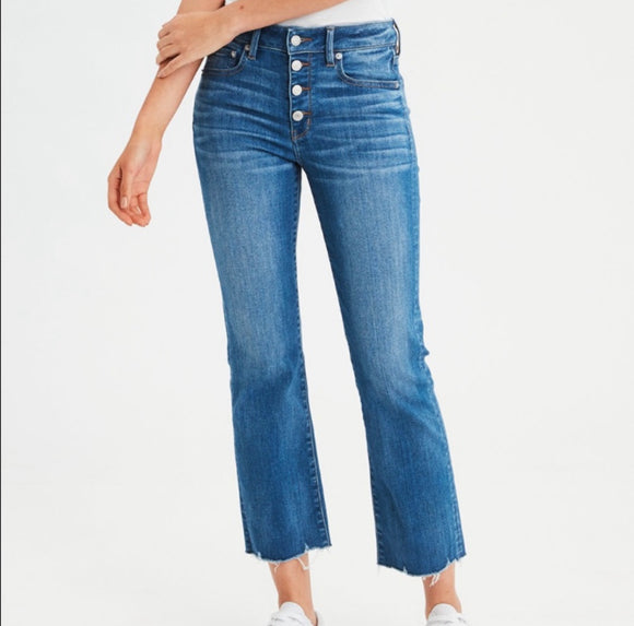 American Eagle Hi-Rise Crop Flare New 6 Regular