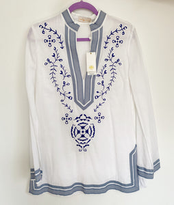 Tory Burch Linen Embroidered Tunic NWT Size 10