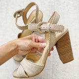 Antonio Melani Nude Leather Linen Heels 6.5