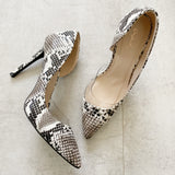 Qupid Snakeskin Pointed Heels 8.5