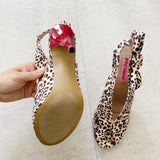 Betsey Johnson Leopard Bow Red Heels 7