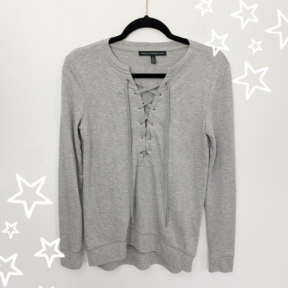 White House Black Market lace-up Pullover XS