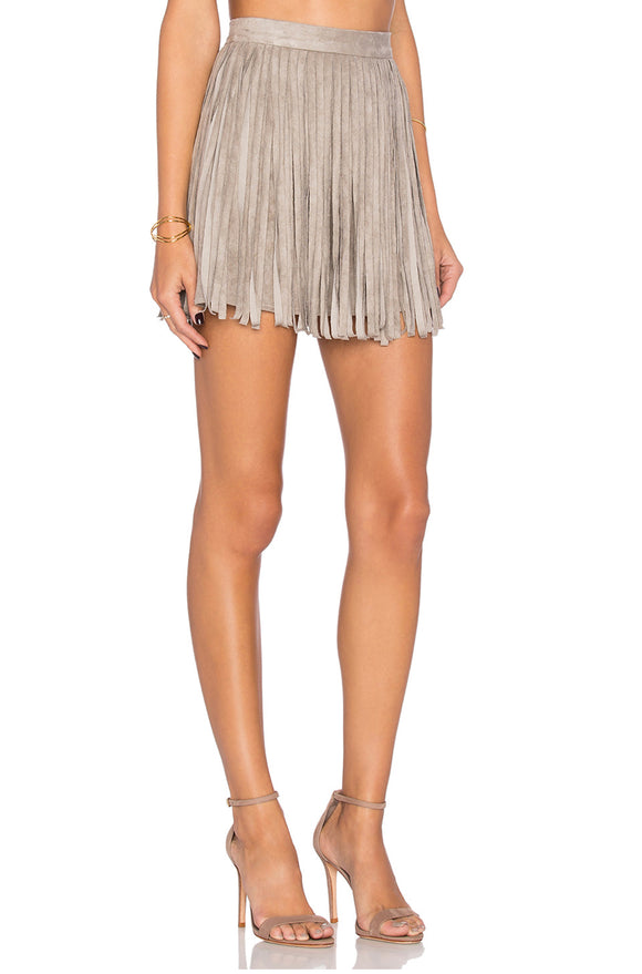 BB Dakota Suede Barton Fringe Skirt 4