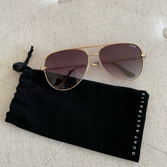 Quay Australia Large Gold Aviator Sunglasses