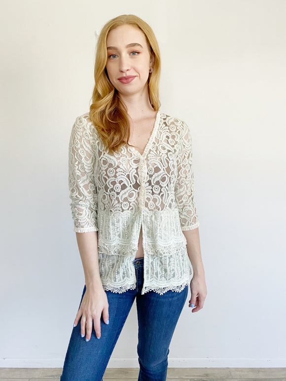 Young Essence Lace Knit Cardigan Large