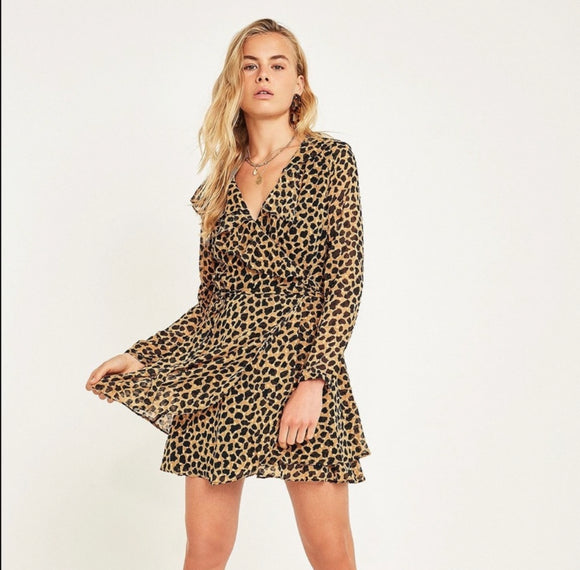 Free People Leopard Print Frenchie Mini Wrap Dress Medium