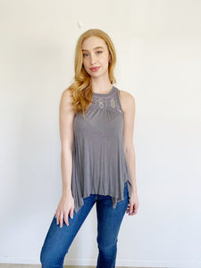 American Eagle Embroidered Tank Top XS