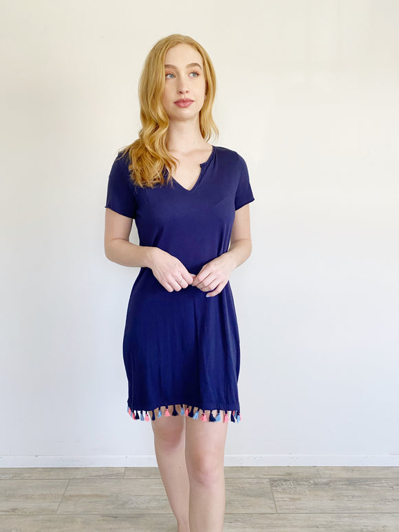 Michael Stars Cotton Navy Tassel Dress Small