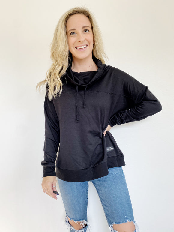 Simply Southern Black Turtleneck Pullover Sweatshirt S