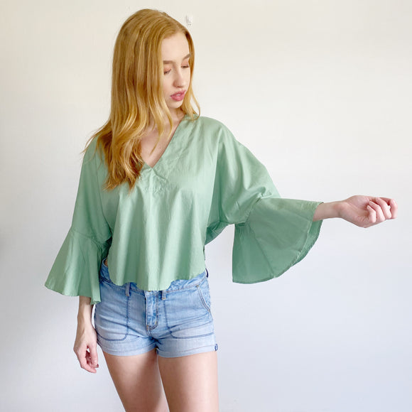 Free People Solid Mint Bell Sleeve Top XS