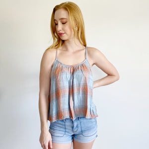 Anthropologie Cloth & Stone Flannel Flutter Tank Large