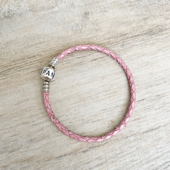 Pandora Pink Braided Leather Bracelet