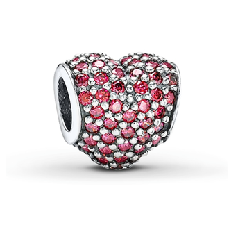 PANDORA Charm Red CZ Pave Heart Sterling Silver