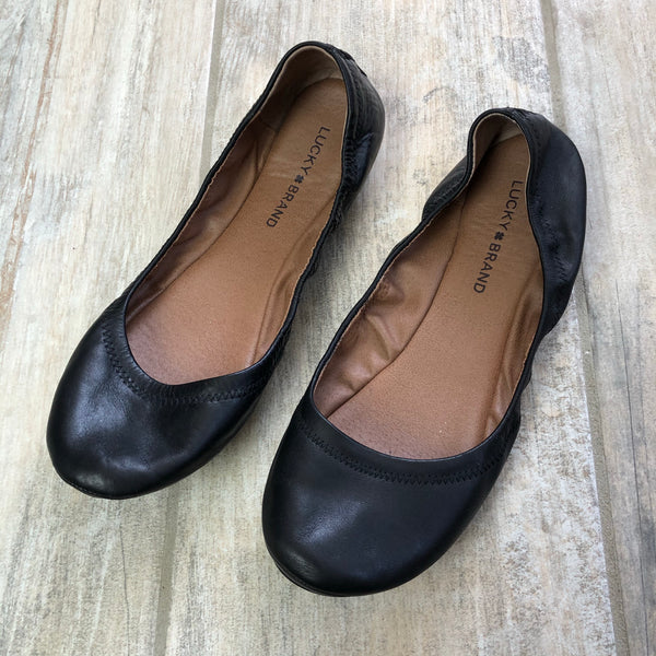 Lucky Brand Emmie Leather Black Ballet Flats 10
