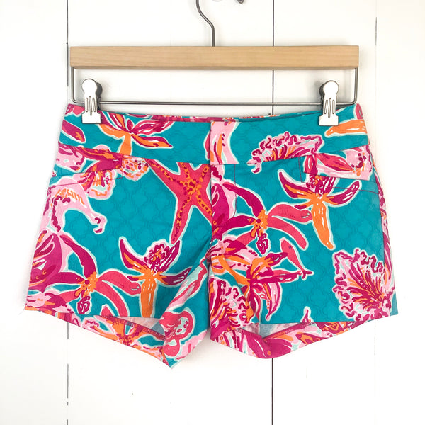 Lilly Pulitzer Teal Pink Ellie Shorts 00