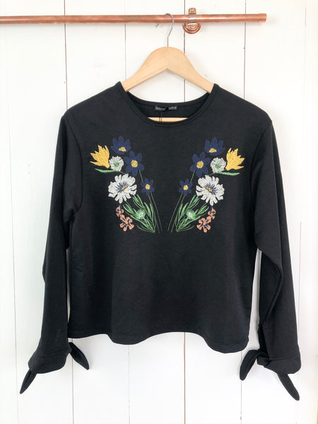 Zara Embroidered Long Sleeve Blouse NWT Small